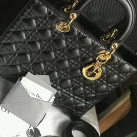 DIOR Lady Dior Black Large 100% Authentic