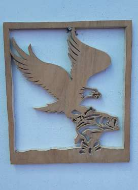Custom handmade wooden wall hangings Eagle and fish in pond