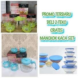 new promo set teko beli dua gratis mangkok kaca
