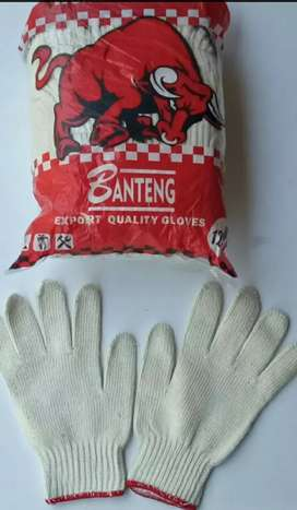 Sarung tangan benang putih Banteng Grosir berkualitas