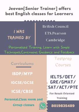 Best Online Classes for IELTS/TOEFL/GRE/SAT/PTE/OET/GMAT/CREATIVE WRIT