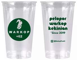 Printing gelas plastik unik kekinian CUP PET 28oz