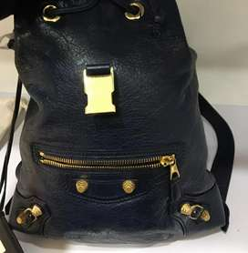 Tas Balenciaga, Backpack, Navy, Gold hardware, simple leather, th 2016