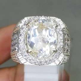 Batu Akik Cincin Topaz Putih Bening Kristal Perak