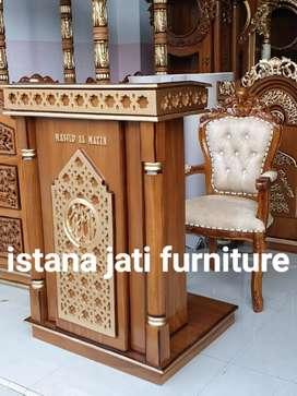 Mimbar masjid mimbar podium materisl kayu jati solid