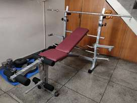 All in one Multi purpose bench and 60kg weights