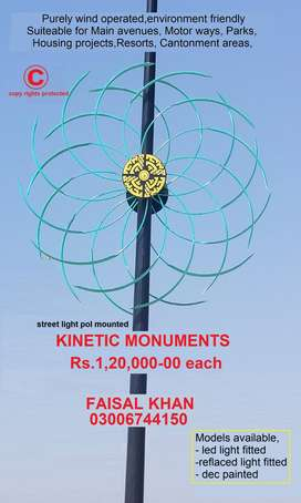 KINETIC MONUMENTS. WIND DRIVEN ORNAMENTAL ARTISTIC INVENTION