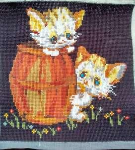 Cross Stitch / Kristik / Tusuk Silang - gambar Kucing