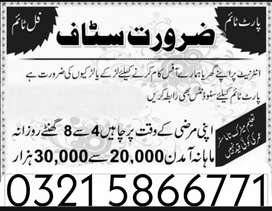 Staff Required for Part time / full time / Home Base job