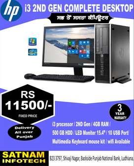 HP i3 2nd GEN COMPLETE DESKTOP, 15.5 LED, K/MOUSE ,  @ 11500/-