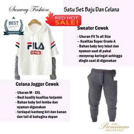 AM00408 Celana Setelan Satu set Sweater cewek dan celana joger
