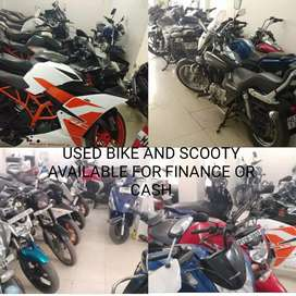 Used bike and Scooty available for finance or cash