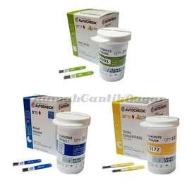 Paket Autocheck Strip Kolesterol, Gula & Asam Urat (3 Botol)
