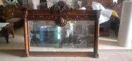 Fugura Minimalis + kaca, kayu jati, finis natural, free ongkir