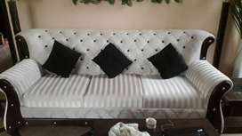 Six Seater White Luxurious Sofa Set with two floral lamps