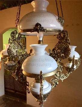 Lampu gantung katrol cabang ovj dekorasi hias lampu lawasan joglo