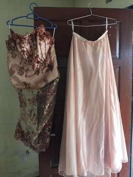 Gaun pesta mewah,2 piece, kemben dan rok panjang