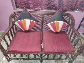 A 4 year old beautiful sofa set made of cane having a classy look.