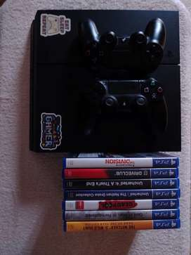 PS4 1TB with 2 controllers and 6 games