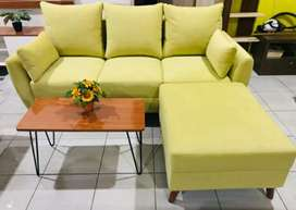 ANUGRAH-FURNITURE,Sofa single VINTAGE new kuning minimalis+puff+bantal