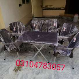 Plastic chairs tables set 4+1 full shine pure