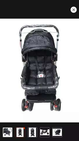 8 big tyres Alloy foldable baby stroller with double handle.