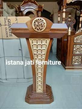 Mimbar masjid podium material bahan kayu jati grate A