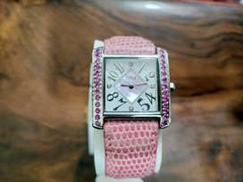 Burgi swiss square watch in 5000 only with large pink stones & strap