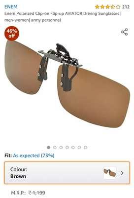 Unused Enem clip on  brown polarised sunglass.