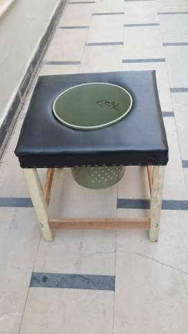 Stool n urine seat for patients  wooden seat new with leather top