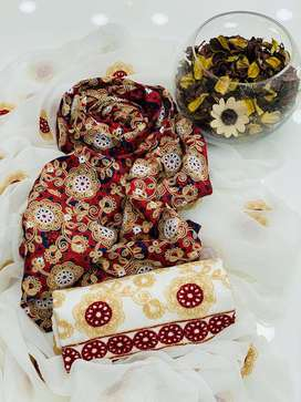 Lawn Ajrak Scrolling Embroidery , Embroidered Trouser Along With Chfon