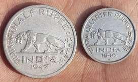 Old British india coins (Half & QuarterRupee)