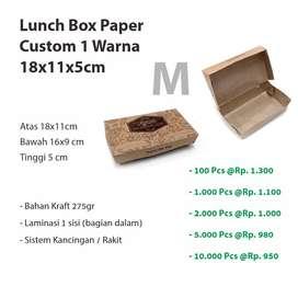Lunch Box Paper Custom  Desain 1 Warna 18x11x5cm / Dus Makanan