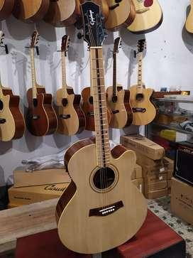 Gitar Akustik elektrik natural dobel round maple