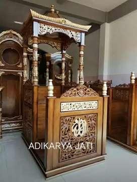 Mimbar kubah masjid khotbah ceramah  kayu jati.