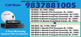 999 Tata Sky DTH Offer- Tatasky D2H Dishtv Videocon - Dish All India