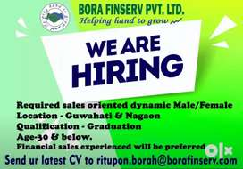 Required sales executive for Financial sales in Guwahati.