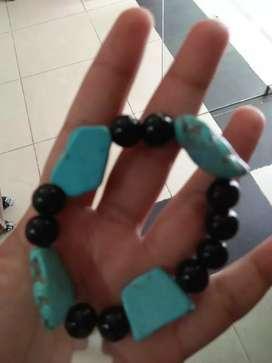 Gelang batu pirus Persia mix black onyx