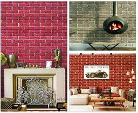 Wallpaper motif batu bata dan batu alam