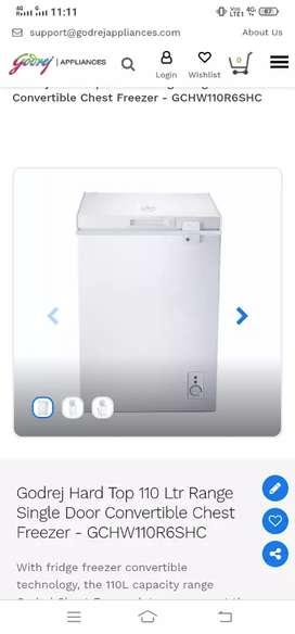 110 litre deep fridger godrej 6months old