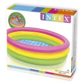 Kolam Renang Anak Intex Ukuran 147 cm x 33 cm 3Ring Bulat Rainbow