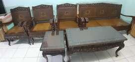 Kursi dan Meja Ukiran Kayu Jati Jepara th 1970an