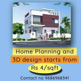 House planning and 3d design start at by Rs 4sqft