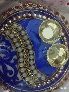 Puja plate roli chawal for raksha Bandhan