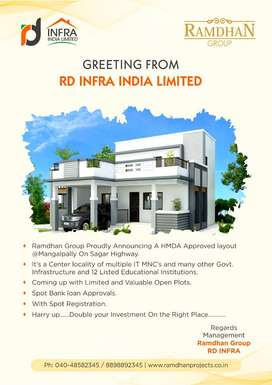 DTCP Approved Open plots for sale at warangal Highway Bit Project With