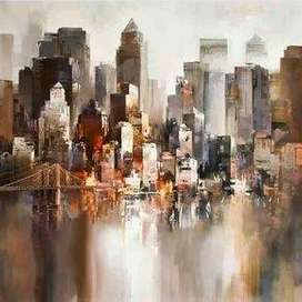 lukisan kanvas pemandangan kota modern