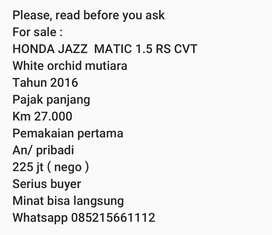 Honda jazz 1.5 rs cvt