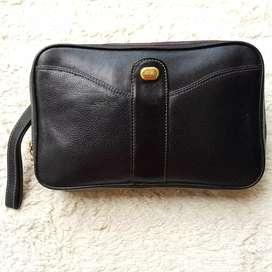Tas import eks WANLIMA clutch/tas tangan kulit asli tebal hitam