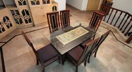 Solit Wood 6 Chairs Dining Table With 12mm Top Glass