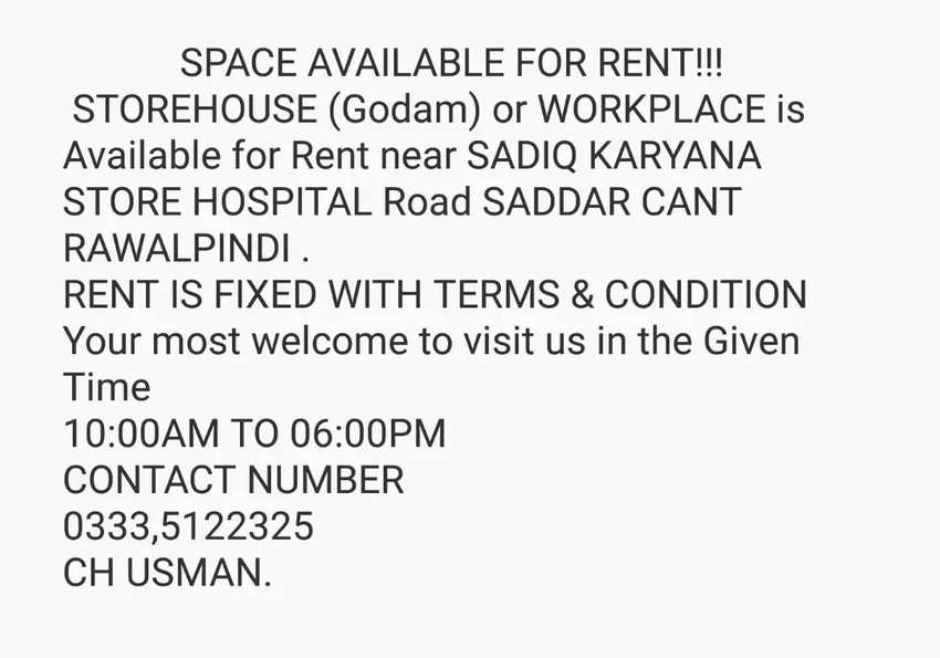 Storehouse (Godam) or Workplace Available for Rent near Saddar Cant